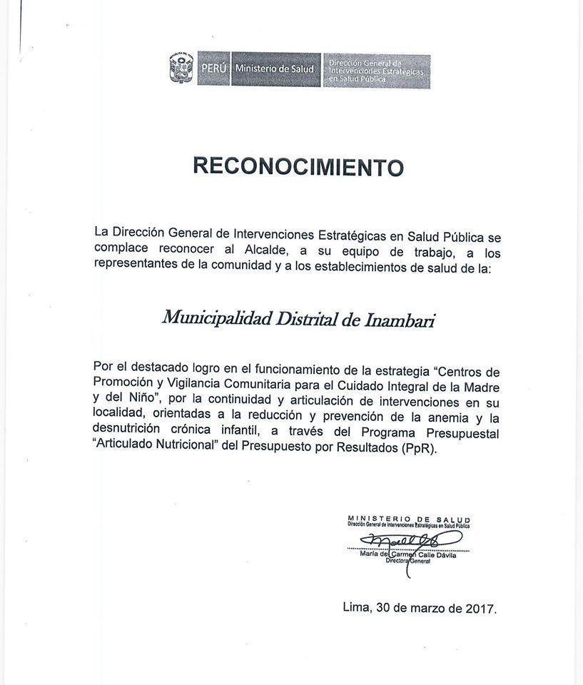 Imagen: Municipalidad Distrital de Inambari